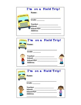 Field Trip Name Tags