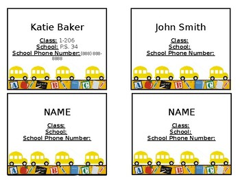 Field Trip Name Tags *EDITABLE*