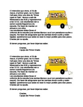 Field Trip Note - Spanish (Editable)