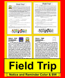 Field Trip Permission Slip Notice and Reminder-Ready to Edit