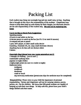 Field Trip Packet for Parents