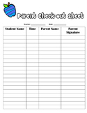 Field Trip Parent Check-Out Sheet
