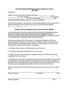High & Middle School Editable Field Trip AND Behavioral Contract Form Slip!