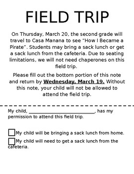 Field Trip Permission Slip (Editable) by Angie T | TpT