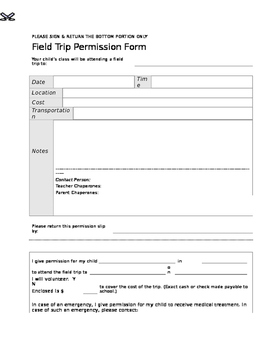 Extras: Field Trip Permission Slip Form