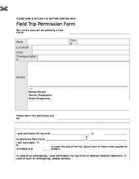 Extras: Field Trip Permission Slip Form