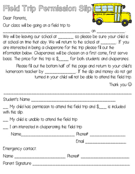 Field Trip Permission Slip & Teacher Resources