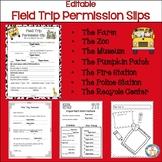 Field Trip Permission Slips~Editable