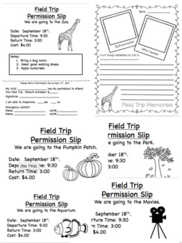 Field Trip Permission Slips and Writing Activities (Editable)
