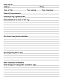 Field Trip Planning Sheet-Homeschool version