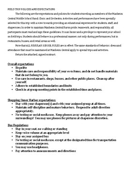 Field Trip Policies and Expectations