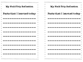 Field Trip Reflection Book