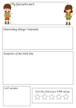 Field Trip Reflection Worksheets - My Journey