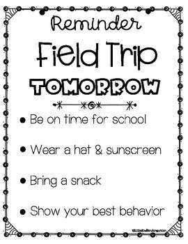Field Trip Reminder Notes