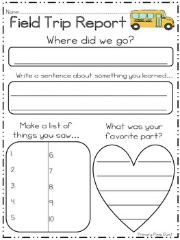 Field trip report by primary pixie dust teachers pay for Field trip lesson plan template