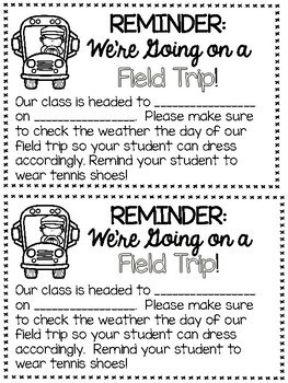 Field Trip Forms - Generic - Permission Slips, Chaperone Letter, Planning Pages