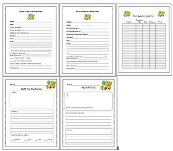 Field Trip Resources Checklist, Permission Slip, Prediction, Reflection