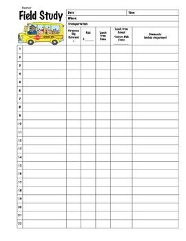 Field Trip Roster Checklist
