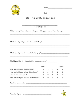 Field Trip Self Assessment Form For Elementary Students 79674 on Perspective Worksheets For Elementary