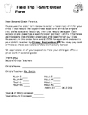 Field Trip T-Shirt Order Form - EDITABLE