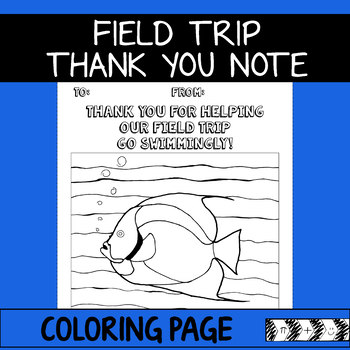 field trip thank you note coloring page aquarium zoo beach