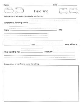 Field Trip Writing Assignment / Kindergarten / 1st Grade