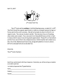 Field Trip letter and form