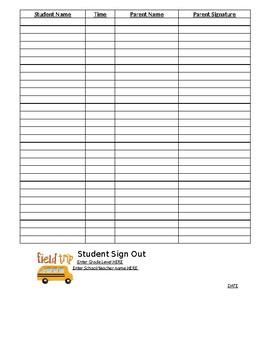field trip sign out sheet teaching resources teachers pay teachers