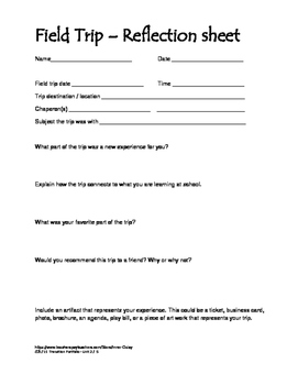 Field Trip reflection worksheet