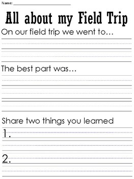 Field Trip themed Writing Prompts