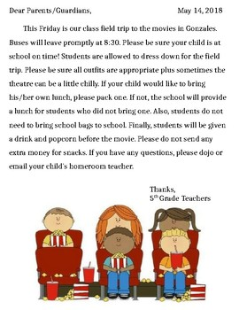 Field Trip to the Movies Parent Letter