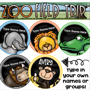 Field Trip to the Zoo Editable Name Tags Jungle Safari