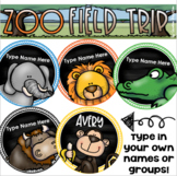 Field Trip to the Zoo Editable Name Tags Jungle Safari