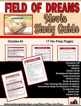 Field of Dreams: The Study Guide for the Film (17 Pages, Answer Keys Included)