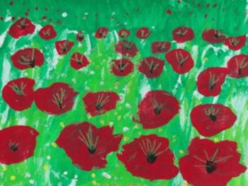 Field of Poppies Notebook Lesson - Space, Size, and Perspective for 1st Grade