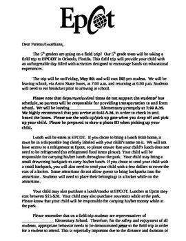 Field Trip Letter To Parents