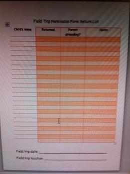 Field trip permission form return list