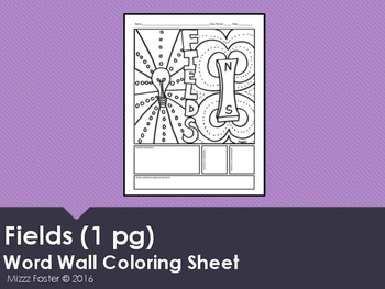 Fields Word Wall Coloring Sheet