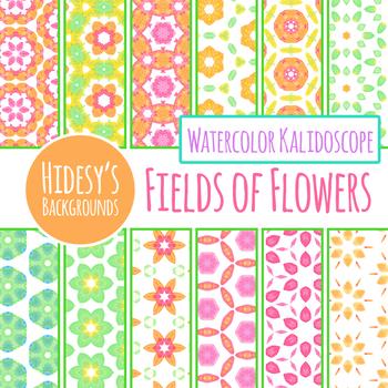 Fields of Flowers Handpainted Watercolor Digital Paper / Backgrounds Clilp Art