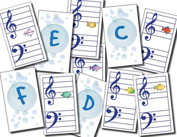 Fiendish Fishiness - Level 1 Music Notes and Terms Flashcards