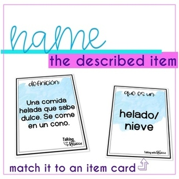 Spanish Speech Therapy Definition Activity