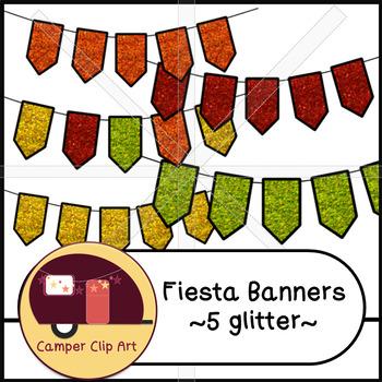 Fiesta Banners / Pennants Glitter and Solid {CU - ok!}