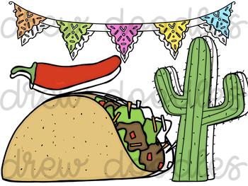 Fiesta/ Cinco De Mayo Digital Clip Art Set- Color and Black Line COMBO