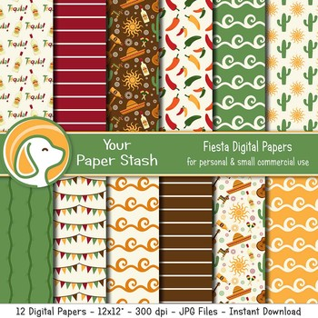 Fiesta Cinco de Mayo Digital Paper Pack, Mexico Vacation Scrapbooking Papers