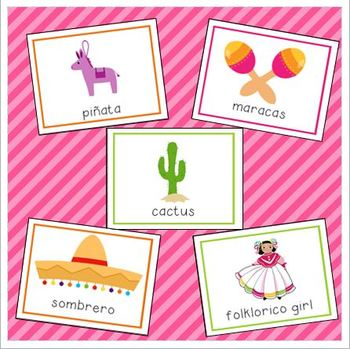 Fiesta & Cinco de Mayo Vocabulary Cards for Preschool and Kindergarten