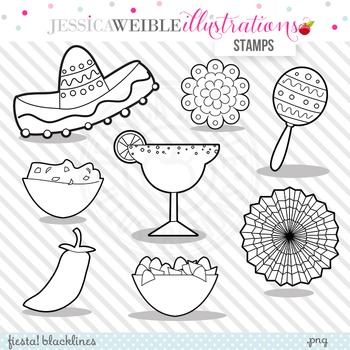 Fiesta Cute Digital B&W Stamps, Fiesta Line Art, Blackline, Cinco de Mayo
