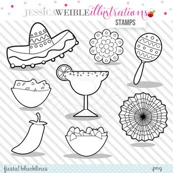 Fiesta Cute Digital B&W Stamps, Fiesta Line Art, Blackline