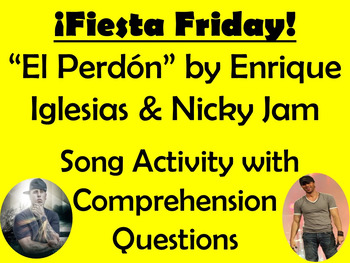 Fiesta Friday!  El Perdon Song Activity and Comprehension