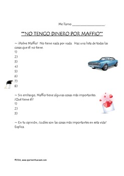 Fiesta Friday!  No Tengo Dinero Song with Comprehension Questions & Cloze