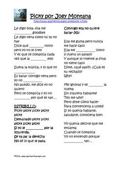 Fiesta Friday!  Picky Song with Comprehension Questions & Cloze Activity